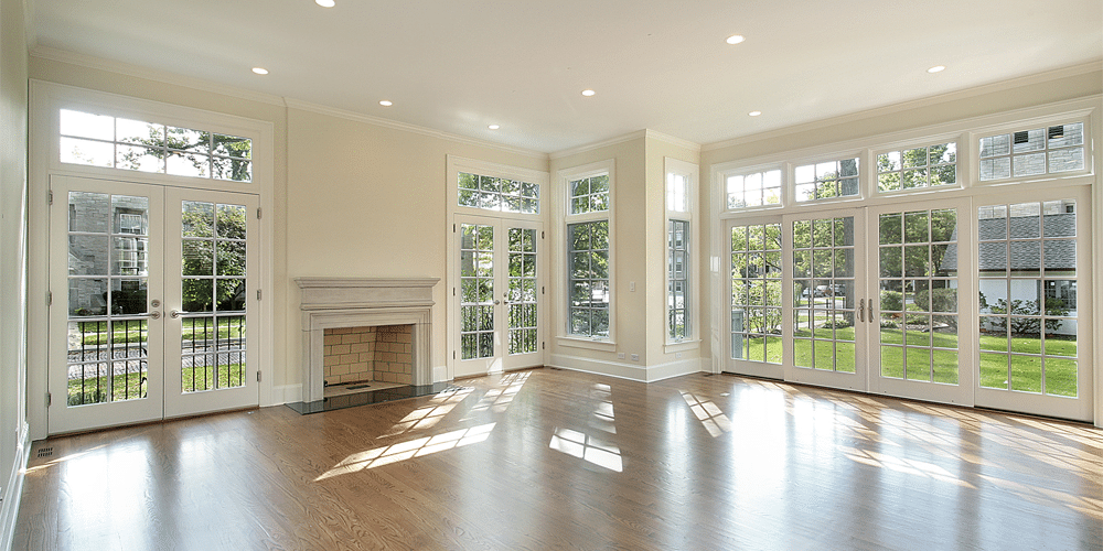 energy saving windows are installed on a white empty living room